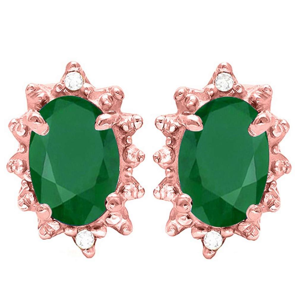 0.79 CT EMERALD AND ACCENT DIAMOND 10KT SOLID ROSE GOLD EARRING #IRS93731