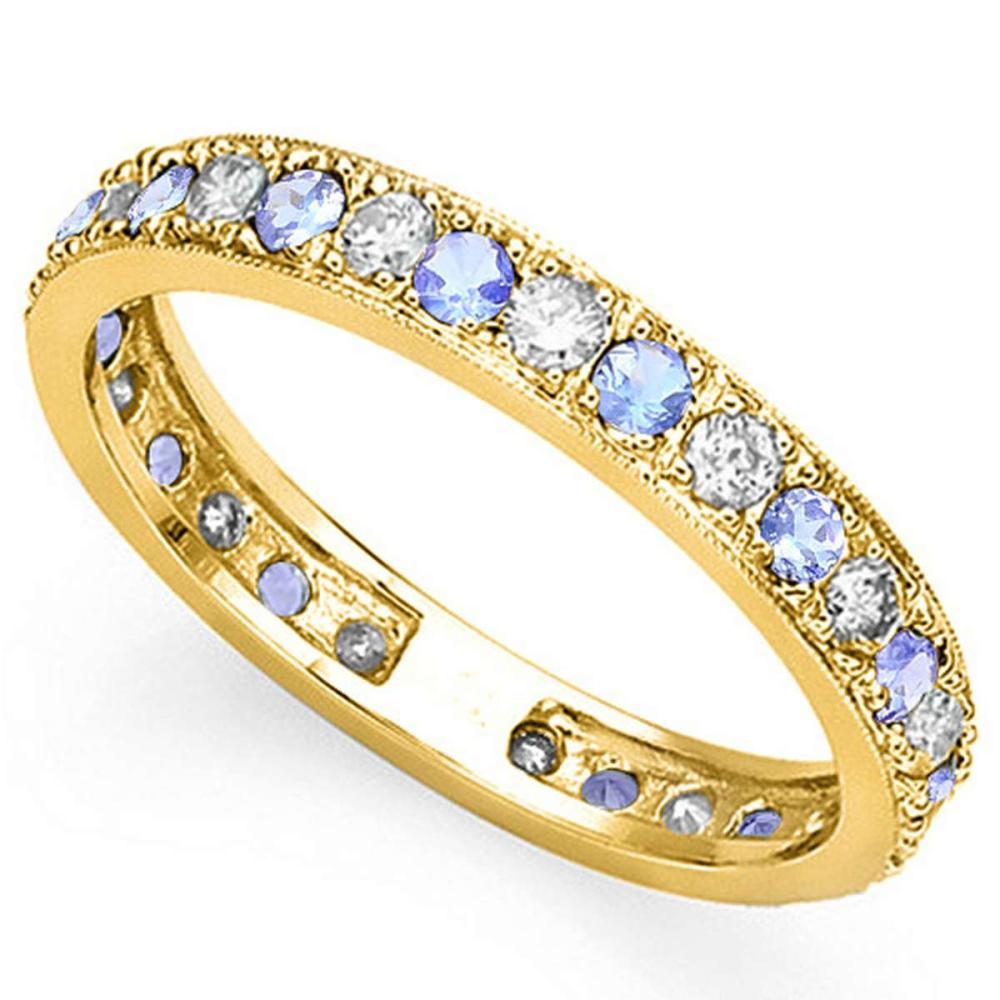 CERTIFIED 0.45 CT TANZANITE AND 0.6 CT CZ 14KT SOLID YELLOW GOLD RING #IRS93654