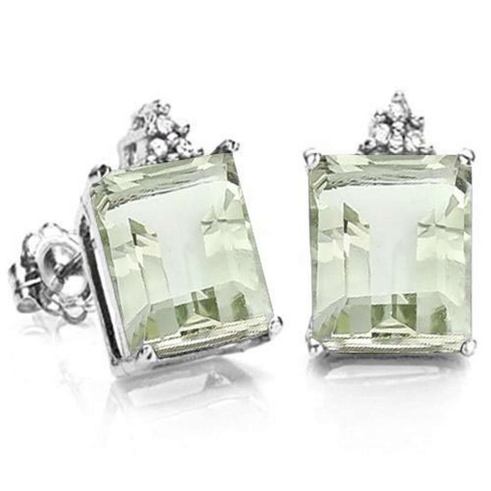 1.85 CARAT GREEN AMETHYST 10K SOLID WHITE GOLD OCTAGON SHAPE EARRING WITH 0.03 CTW DIAMOND #IRS48790