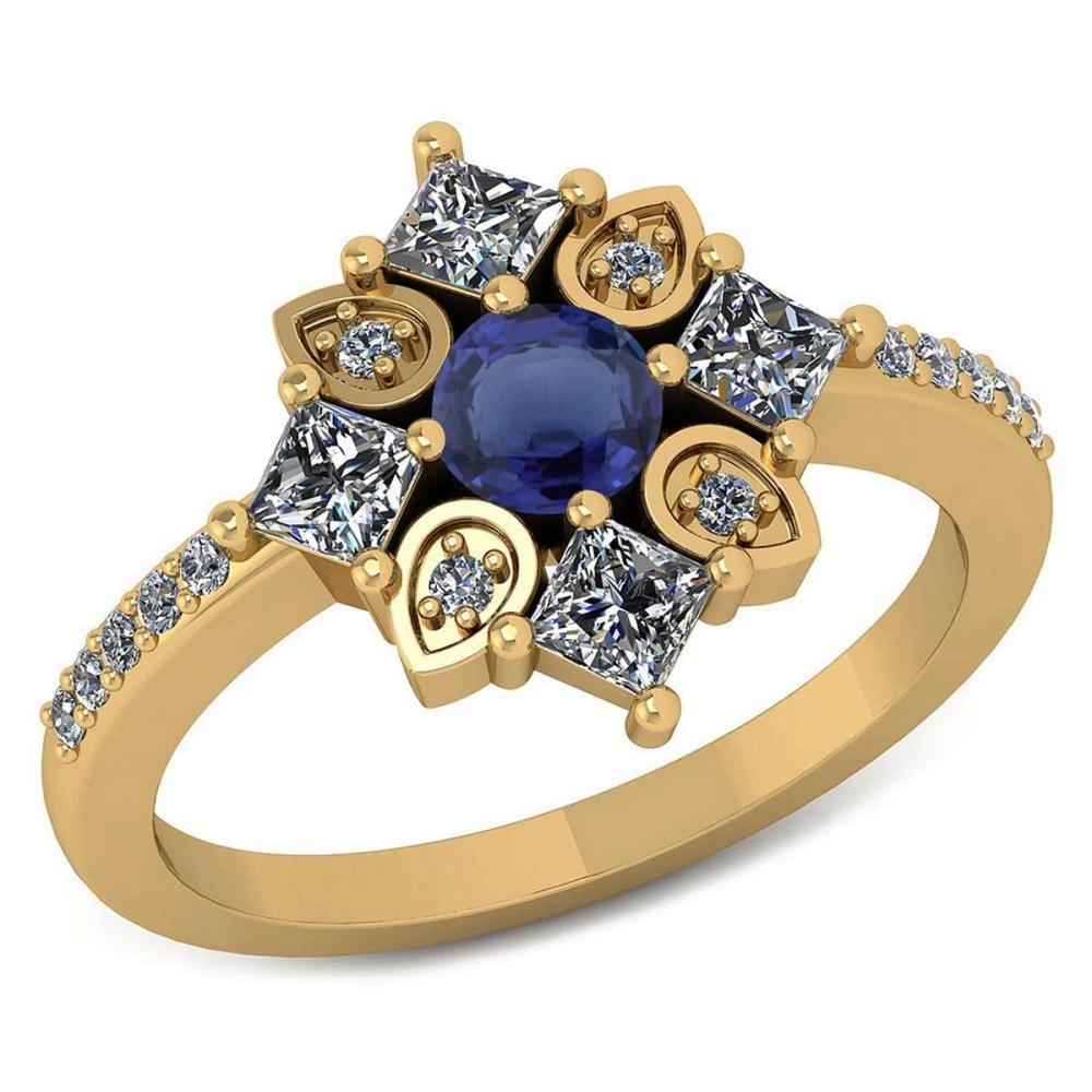 Certified .54 CTW Genuine Blue Sapphire And Diamond 14K Yellow Gold Ring #IRS91783