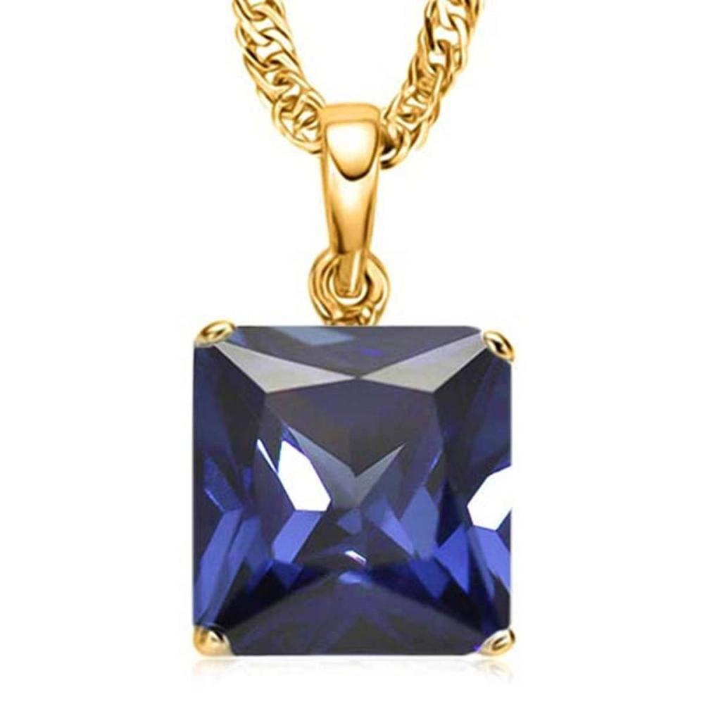 1.8 CTW LAB TANZANITE 10K SOLID YELLOW GOLD SQUARE SHAPE PENDANT #IRS56793