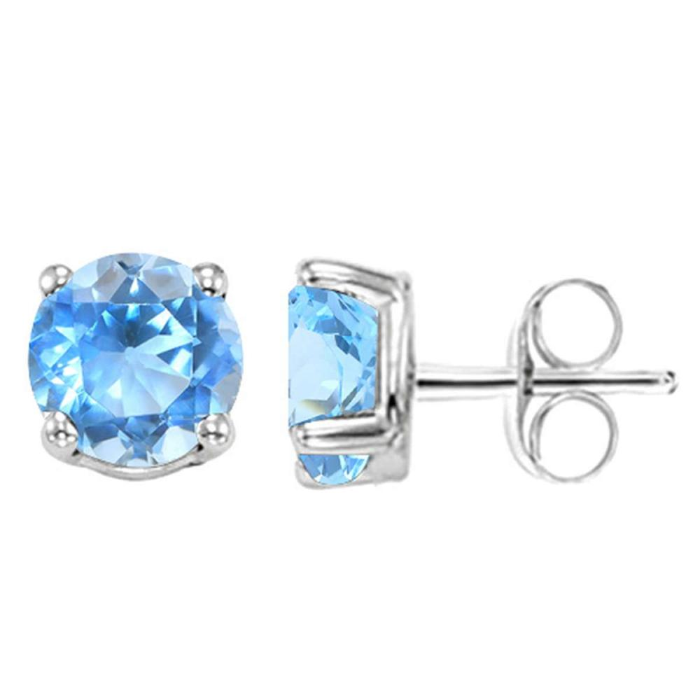 2.04 CT SKY BLUE TOPAZ 10KT SOLID WHITE GOLD EARRING #IRS93676
