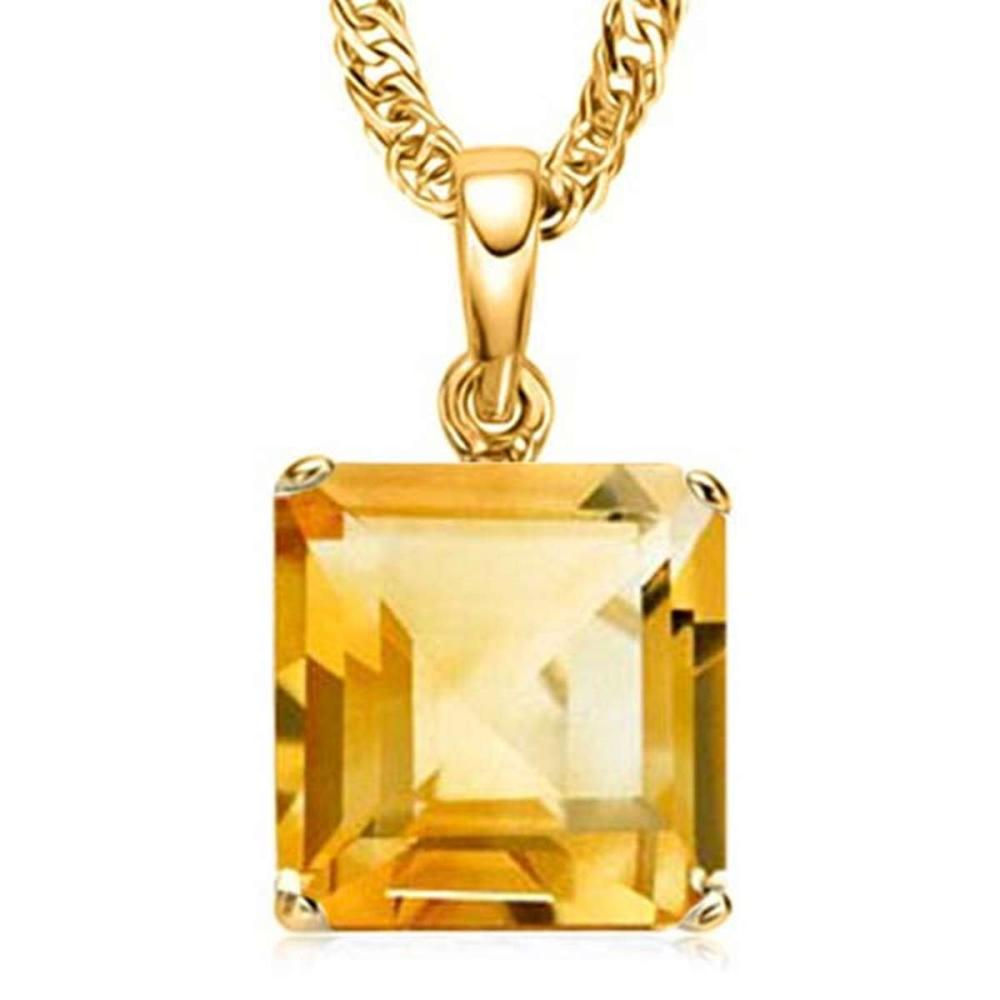 0.9 CTW CITRINE 10K SOLID YELLOW GOLD SQUARE SHAPE PENDANT #IRS56789
