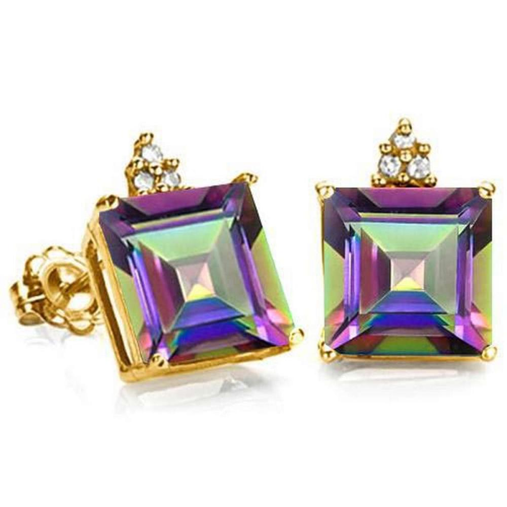 1.85 CARAT MYSTICS GEMSTONE 10K SOLID YELLOW GOLD SQUARE SHAPE EARRING WITH 0.03 CTW DIAMOND #IRS48873