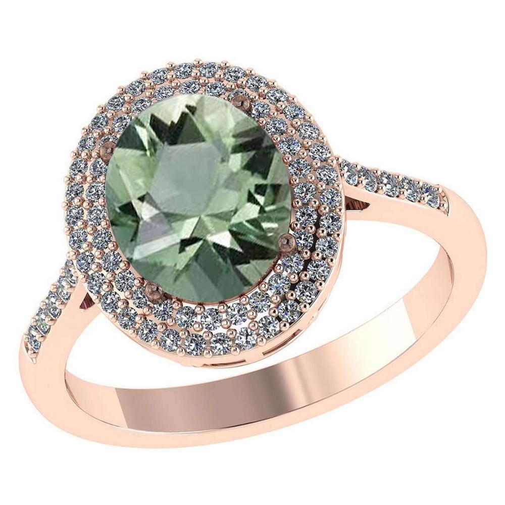 Certified 2.82 CTW Genuine Green Amethyst And Diamond 14K Rose Gold Ring #IRS91488