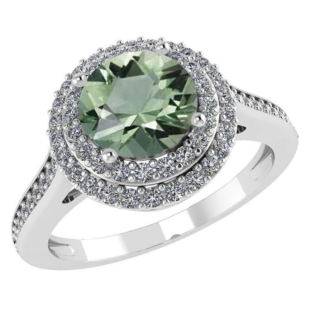 Certified 2.82 CTW Genuine Green Amethyst And Diamond 14K White Gold Ring #IRS91532