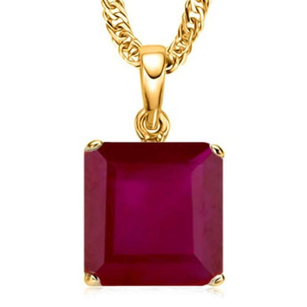 1.3 CTW RUBY 10K SOLID YELLOW GOLD SQUARE SHAPE PENDANT #IRS56784