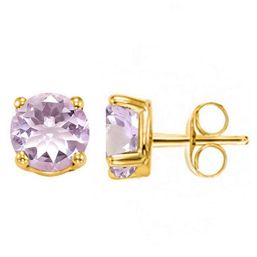 1.55 CT PINK AMETHYST 10KT SOLID YELLOW GOLD EARRING #IRS93686