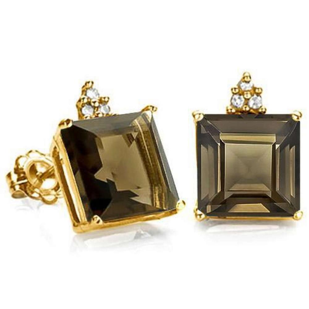 2.1 CARAT SMOKEY 10K SOLID YELLOW GOLD SQUARE SHAPE EARRING WITH 0.03 CTW DIAMOND #IRS48879