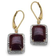 14K Yellow Gold Plated 14.00 Carat Genuine Dyed Ruby Sterling Silver Earrings #77210v3