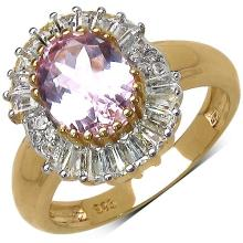 3.12 Carat Genuine Kunzite 14K Yellow Gold Plated .925 Sterling Silver Ring #78650v3