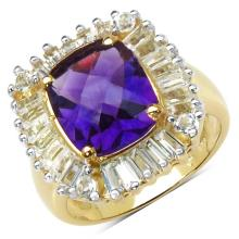 14K Yellow Gold Plated 4.78 Carat Genuine Amethyst & White Topaz .925 Sterling Silver Ring #77372v3