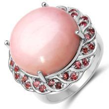 14.59 Carat Genuine Opal & Tourmaline .925 Sterling Silver Ring #78077v3