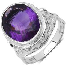 7.83 Carat Genuine Amethyst .925 Sterling Silver Ring #77531v3