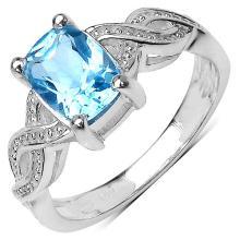 1.51 Carat Genuine Blue Topaz .925 Streling Silver Ring #78453v3