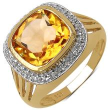 14K Yellow Gold Plated 3.78 Carat Genuine Citrine & White Topaz .925 Streling Silver Ring #78142v3