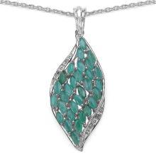 2.12 Carat Genuine Emerald & White Topaz .925 Sterling Silver Pendant #77268v3