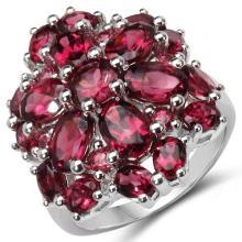 6.54 Carat Genuine Rhodolite .925 Sterling Silver Ring #78016v3