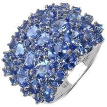 6.73 Carat Genuine Tanzanite .925 Streling Silver Ring #78163v3