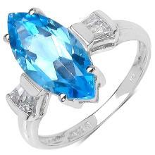 1.70 Carat Genuine Swiss Blue Topaz & White Topaz .925 Sterling Silver Ring #76809v3