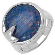 7.90 Carat Genuine Triplet .925 Streling Silver Ring #78470v3