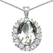 10.86 ct. t.w. Green Amethyst and White Topaz Pendent in Sterling Silver #78003v3