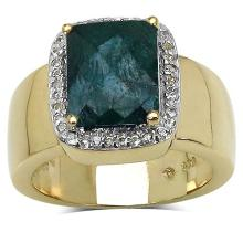 14K Yellow Gold Plated 6.10 ct. t.w. Dyed Emerald and White Topaz Ring in Sterling Silver #77335v3