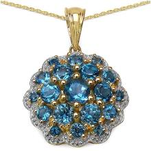 14K Yellow Gold Plated 3.72 Carat Genuine Blue Topaz .925 Streling Silver Pendant #78285v3