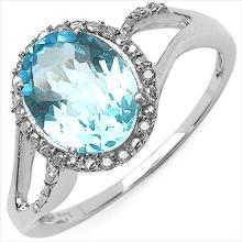 3.30 Carat Genuine White Diamond & Blue Topaz 10K White Gold Ring #77793v3
