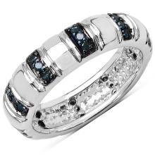 0.27 Carat Genuine Blue Diamond .925 Streling Silver Ring #78171v3