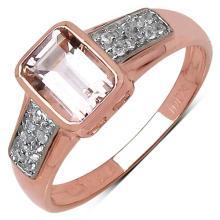 1.00 Carat Genuine Morganite & White Cubic Zircon 10K Rose Gold Ring #77758v3