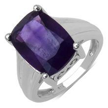 5.85 Carat Genuine Amethyst .925 Sterling Silver Ring #78167v3