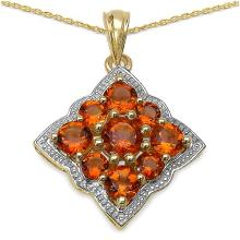 14K Yellow Gold Plated 3.90 Carat Genuine Citrine .925 Streling Silver Pendant #78323v3
