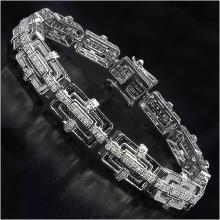 14K White Gold Plated 0.96 Carat Genuine White Diamond .925 Sterling Silver Bracelet #77634v3