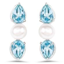 3.12 Carat Genuine Blue Topaz and Pearl .925 Sterling Silver Earrings #77239v3