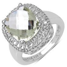 4.09 Carat Genuine Green Amethyst .925 Sterling Silver Ring #76830v3