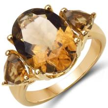 14K Yellow Gold Plated 6.86 Carat Genuine Champagne Quartz & Citrine .925 Sterling Silver Ring #78158v3