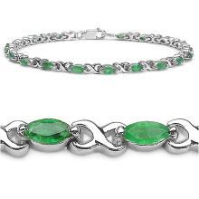 2.60 Carat Genuine Emerald Sterling Silver Bracelet #77602v3