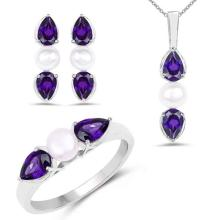 5.76 Carat Genuine Amethyst and Pearl .925 Sterling Silver Ring, Pendant & Earrings Set #76694v3