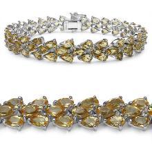 18.26 Carat Genuine Citrine .925 Sterling Silver Bracelet #76597v3