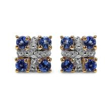 14K Yellow Gold Plated 0.56 Carat Genuine Tanzanite .925 Sterling Silver Earrings #78247v3