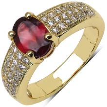 14K Yellow Gold Plated 1.80 Carat Garnet and White Cubic Zircon Brass Ring #76947v3