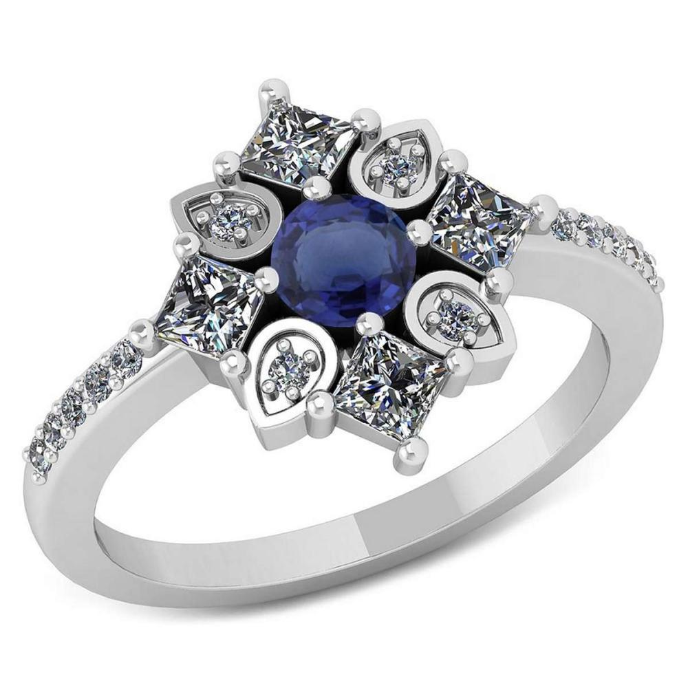 Certified .54 CTW Genuine Blue Sapphire And Diamond 14K White Gold Ring #IRS91794