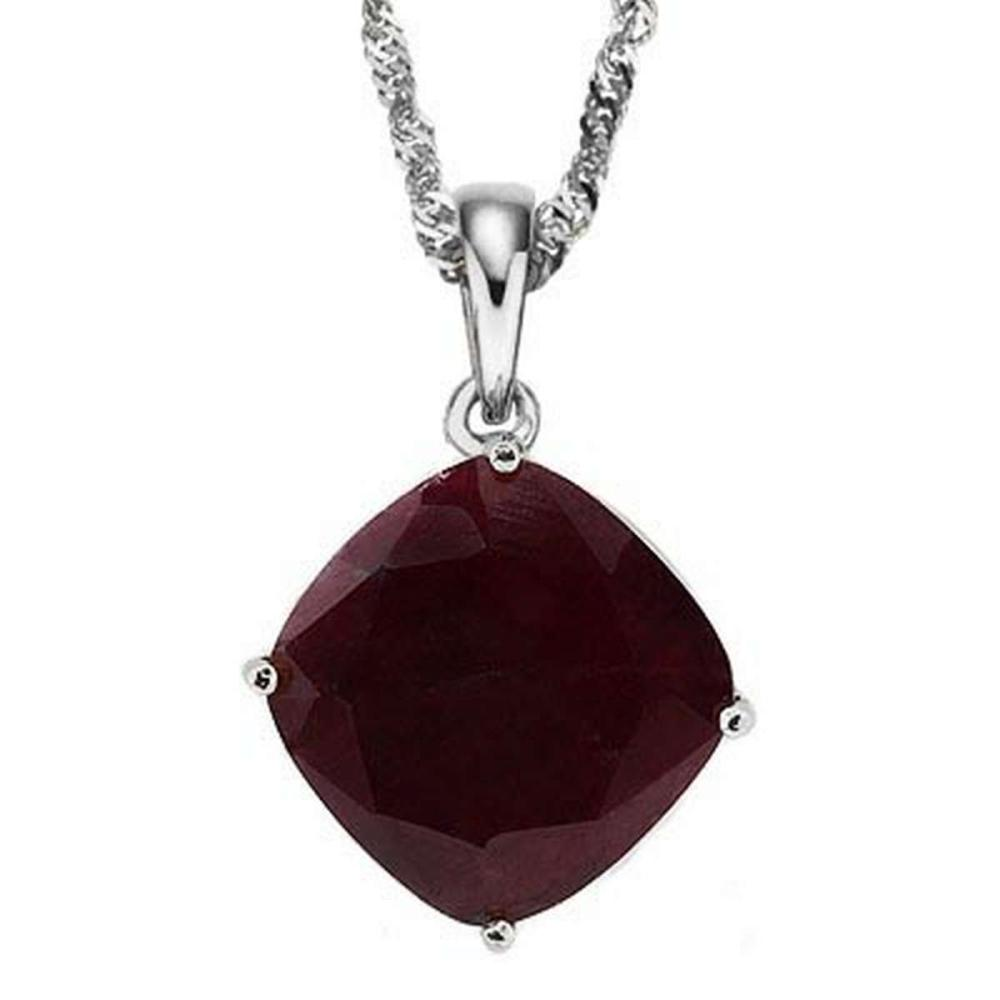 1.4 CTW RUBY 10K SOLID WHITE GOLD CUSHION SHAPE PENDANT #IRS36888