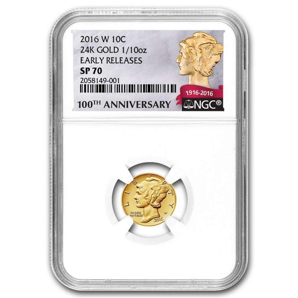 2016-W 1/10 oz Gold Mercury Dime Coin NGC SP70 Early Release #IRS81034