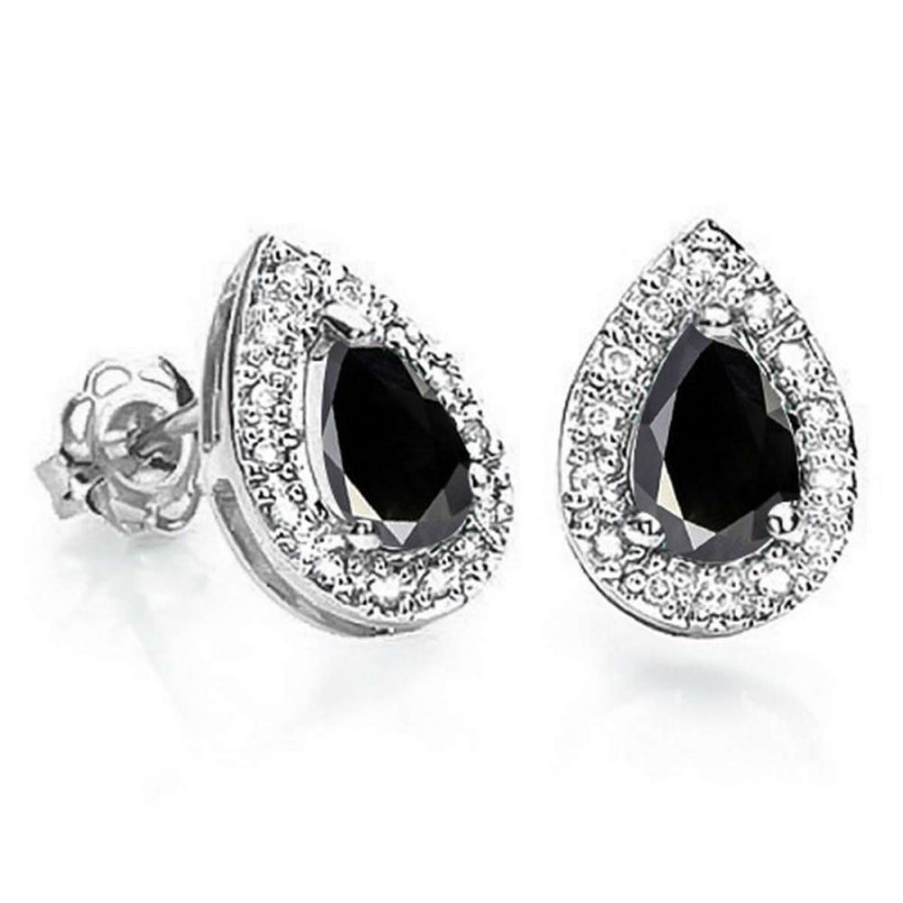 0.83 CT BLACK SAPPHIRE AND ACCENT DIAMOND 10KT SOLID WHITE GOLD EARRING #IRS93754