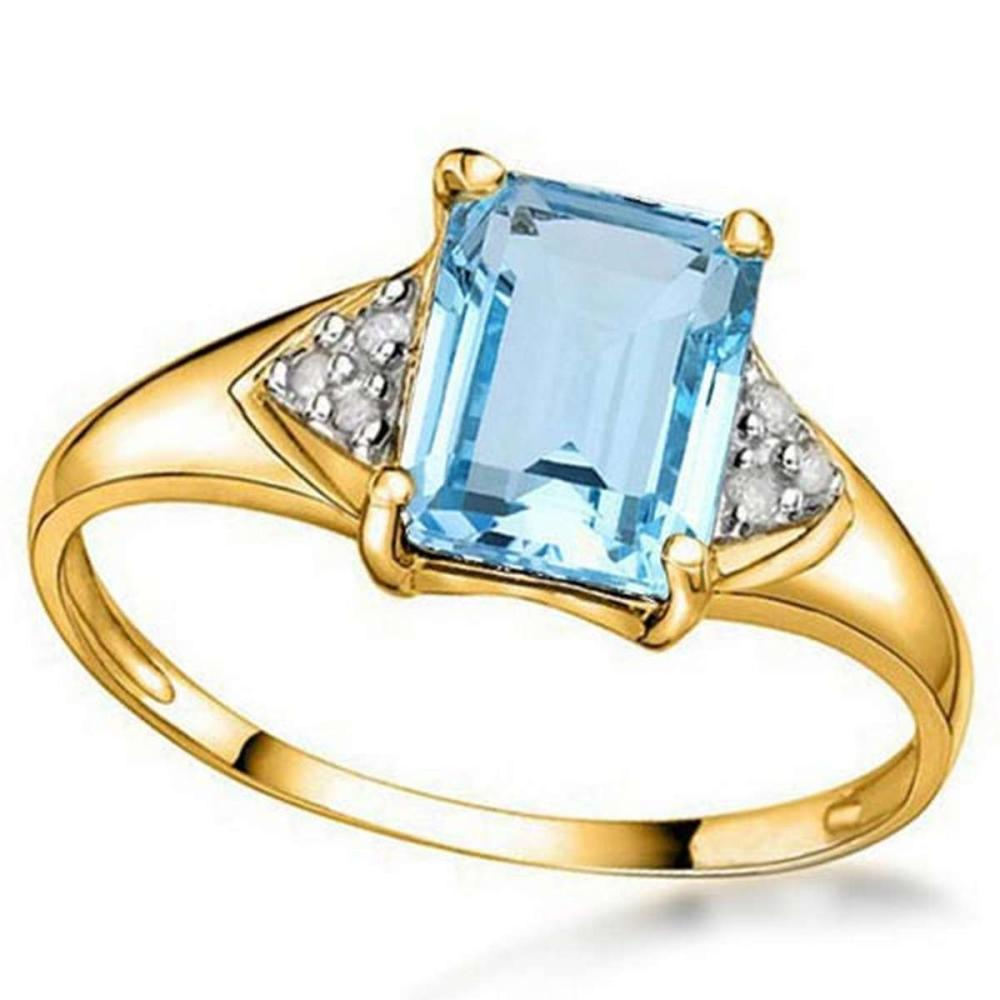 1.78 CTW BABY SKY BLUE TOPAZ & GENUINE DIAMOND (6 PCS) 10KT SOLID YELLOW GOLD RING #IRS80960