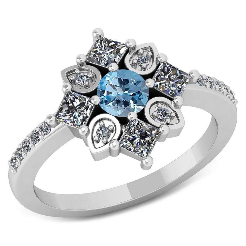 Certified .64 CTW Genuine Aquamarine And Diamond 14K White Gold Ring #IRS91803
