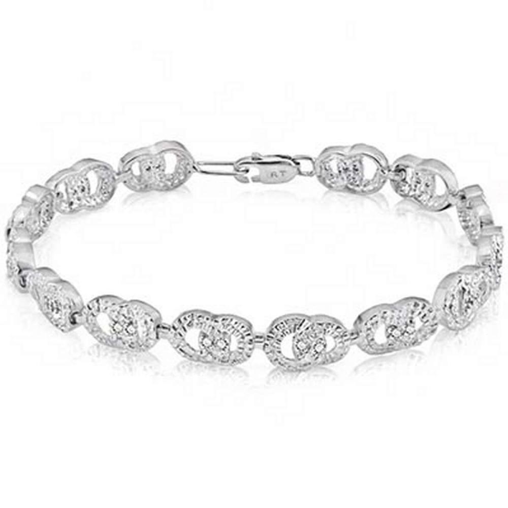 0.13 Carat Genuine White Diamond .925 Sterling Silver Bangle #IRS91154