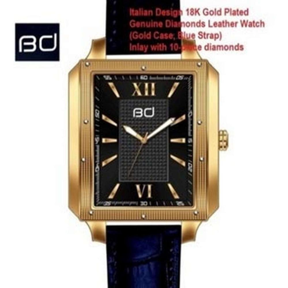 18K GOLD PLATED GENUINE DIAMOND WRIST WATCH #IRS45600